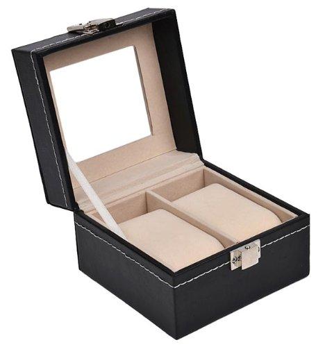 Sinoba Uhrenkoffer Uhrenbox Schaukasten Uhrenkasten Uhrenvitrine für 2 Uhren Leder-Look Echtglas-Fenster