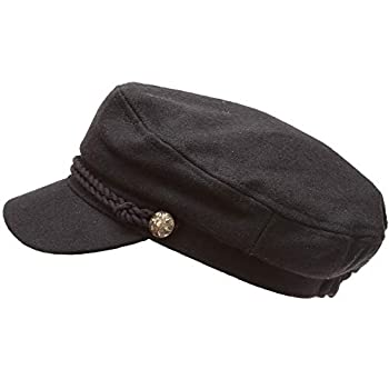 MIRMARU Women's Classic Mariner Style Greek Fisherman's Sailor Newsboy Hats with Comfort Elastic Back  3034 Black