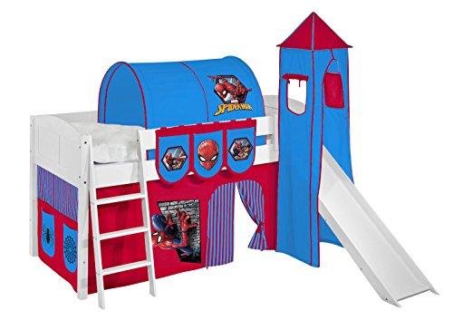Lilokids Spielbett IDA 4106 Spiderman - Teilbares Systemhochbett weiß - mit Turm, Rutsche und Vorhang