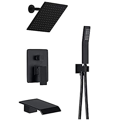 Shower System Matte Black Wall Mount Bathroom Shower Fixtures with 8 inch Rain Shower Head and Waterfall Tub Spout Bathtub Faucet