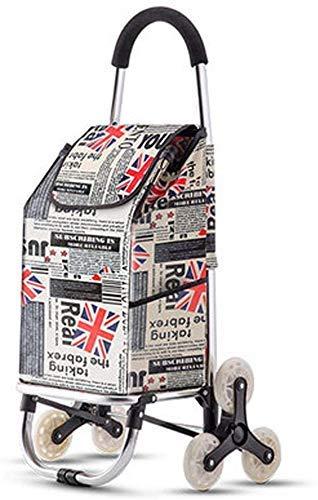 KANJJ-YU Carrito de la compra plegable de tres ruedas ligero para escaleras, con bolsa de almacenamiento extraíble impermeable para interiores y exteriores, viajes, comida