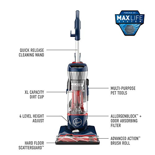 Hoover Max Life Pet Max Complete Bagless Upright Vacuum Cleaner, UH74110, Blue Pearl
