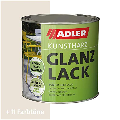 ADLER Kunstharz Glanzlack - RAL9001 Cremeweiß 375 ml - Erstklassiger Lack glänzend, geruchsarm mit guter Wetter- und Vergilbungsbeständigkeit und hoher Deckkraft - Kunstharzlack in Bootslack Qualität