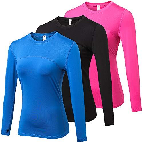 Yuerlian 3 Pack Womens Long Sleeve Performance Base Layer Running Training Top