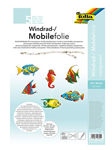 folia 440350/5 - Mobilefolie, Windradfolie, PVC, transparent, 0,4 mm, 35 x 50 cm, 5 Bogen - zum Basteln von Mobiles oder Windrädern