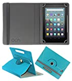 Acm Rotating Leather Flip Case Compatible with Kindle Fire 7 2019 Tablet Cover Stand Greenish Blue