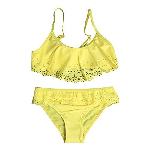 Samore Baby Mädchen Badebekleidung Tankini 3-teiliges Badeanzug Quasten Halfter Crop Tops Shorts Beachwear Sommer Bikini Set