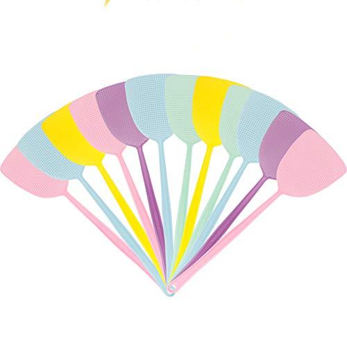 MojiDecor Matamoscas, Matamoscas de Plástico para el Hogar, Paquete de 12 Control Manual de Plagas, 44.45 cm Mango Durable, Ayudante de Cocina, Multicolor. (12 Piezas)