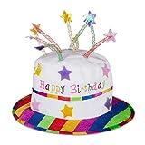 Relaxdays Gorro Cumpleaños, Sombrero Tarta de Peluche con Velas, Para Fiestas, Poliéster, 1 Ud., Blanco y Multicolor
