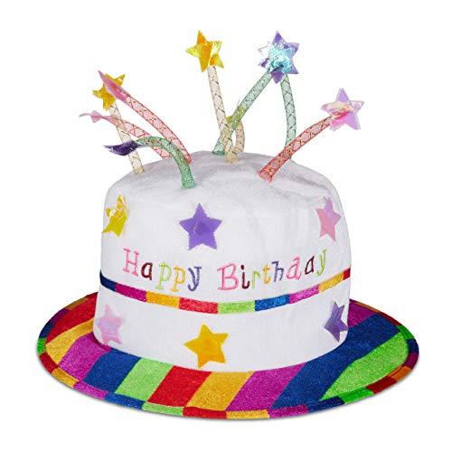 Relaxdays Chapeau-gâteau Happy Birthday, couvre-chef avec bougies, bonnet d'anniversaire, blanc & coloré, multicolore, 1 élément