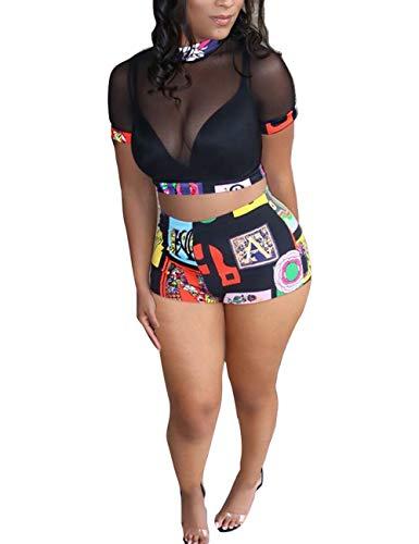 Rela Bota Women's 2 Piece Outfits Mesh Crop Top High Waist Shorts Party Clubwear Set Black XXL