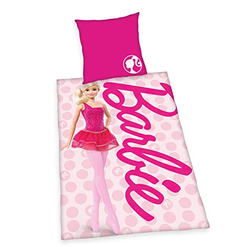 Klaus Herding GmbH Barbie Juego de Ropa de Cama, Algodón, Rosa, 80 x 80 cm, 135 x 200 cm