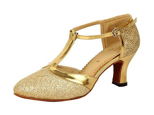 Honeystore Damen's Geschlossene Zehe T-Riemen Glitter Tanzschuhe Gold 6 UK