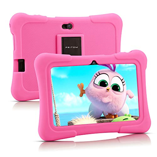 Pritom 7 inch Kids Tablet, Quad Core Android 10, 16GB ROM, WiFi, Bluetooth, Dual Camera, Educationl, Games, Parental Control, Kids Software Pre-Installed with Kids-Tablet Case (Light Pink)