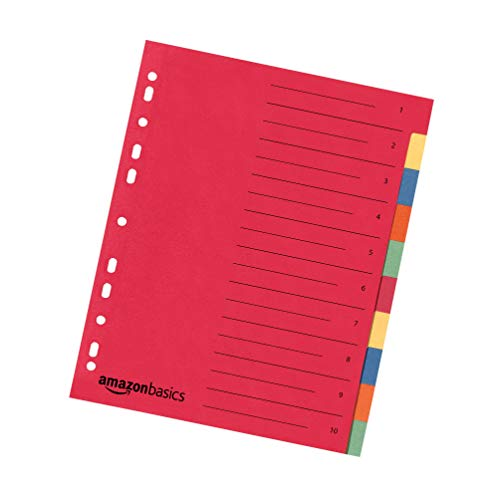 Amazon Basics – Register, aus recyceltem Manilapapier, gelocht nach europäischem Standard, extrabreit, mit 10Tabs in 5Farben, 24 x 29,7cm, A4, 230g/m², 30Stück