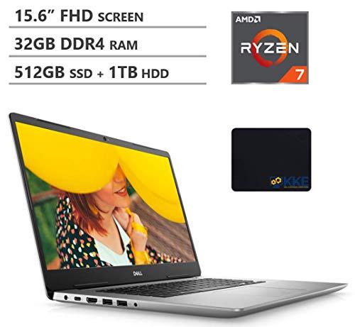 2020 Newest Dell Inspiron 15 5000 15.6'' FHD Business Laptop, AMD Ryzen7 3700U Quad-Core Processor, 32GB DDR4 RAM, 512GB PCIe NVMe SSD + 1TB HDD, Backlit Keyboard, Windows 10, Silver, KKE Mouse Pad