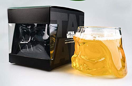 Infinitamente Great Home Decor Center 2 Piezas Star Wars Impresionante Taza Darth Vader Casco Cerveza Taza Negro Caballero Cristal 3D diseño