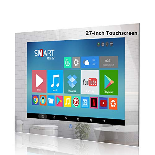 Haocrown 27-inch Touch Screen Smart Mirror TV for Bathroom IP 66 Waterproof Full HD 1080P LED Android Television Built-in Wi-fi Bluetooth (Touchscreen)