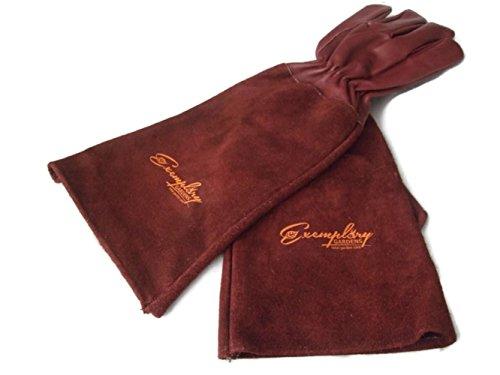 Rosen Gartenhandschuhe für Damen und Herren. Ziegenleder Gartenhandschuhe haben eine Lange Rindsleder Manschette zu Schützen für Ihre Arme, bis der Ellenbogen (Mittel, kastanienbraun)
