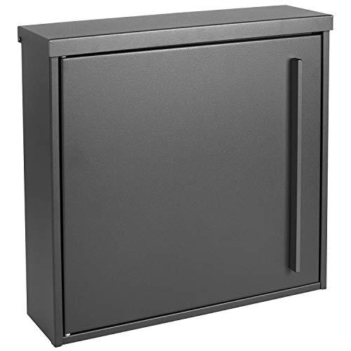 MOCAVI Box 101 Qualitäts-Briefkasten grau 10 Liter Wandbriefkasten, eisenglimmer (DB 703) Postkasten ohne Zeitungsrolle