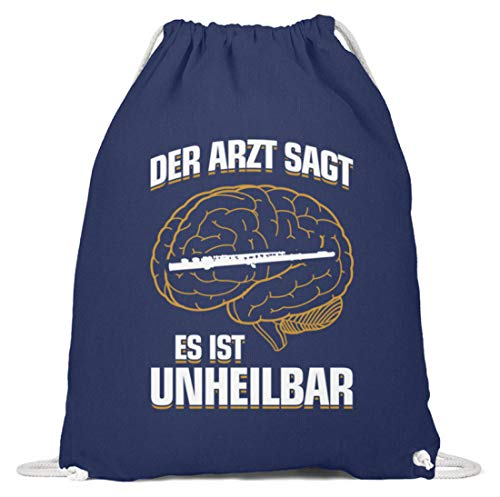 shirt-o-magic Querflöte: .es ist unheilbar - Baumwoll Gymsac -37cm-46cm-Marineblau