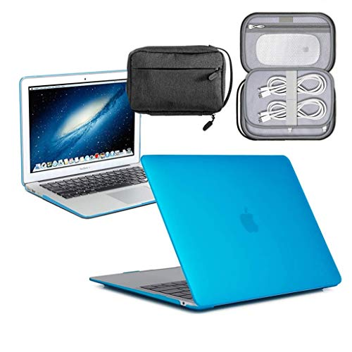 GUPi - Aqua Blue Hard Shell Case, Cover with Water Resistant Accessory Bag for Apple MacBook [13-inch Air - A1932] - [2018-2019] (Retina)