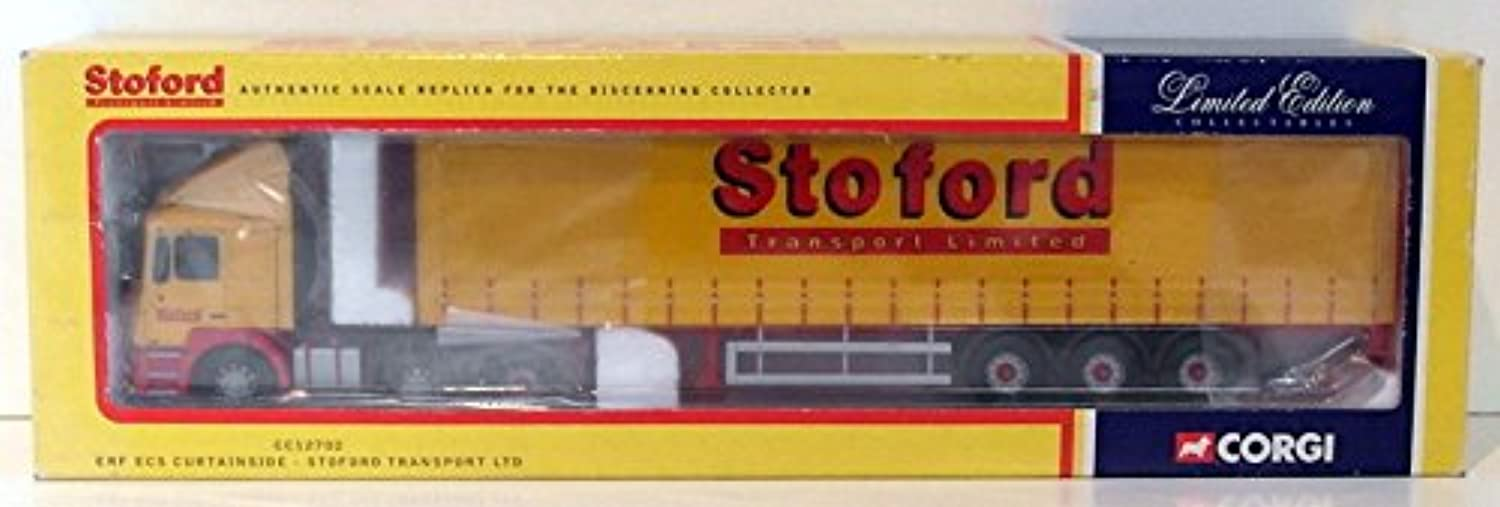 Corgi 1 50 Scale Model Truck CC12702  ERF ECS Curtainside  Stoford Trans. Ltd.