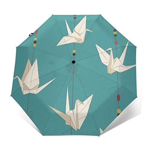Paraguas automático de triple pliegue 3D con impresión exterior japonesa de papel...