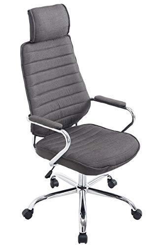 CLP Bürostuhl RAKO mit hochwertiger Polsterung und Stoffbezug | Höhenverstellbarer Chefsessel mit Armlehnen, Farbe:dunkelgrau