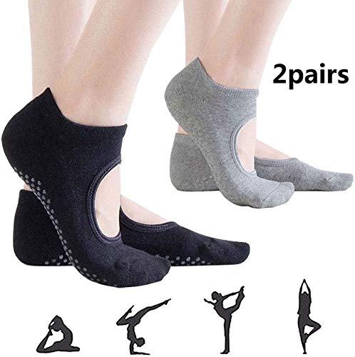 BANGBANGSHOP 2 paar yoga sokken anti-slip pilates sokken voor vrouwen, non-slip fitness dans Barre Ballet Grip sokken Gripper katoen riem sokken voor blootsvoets workout trampoline sporten, zwart en grijs