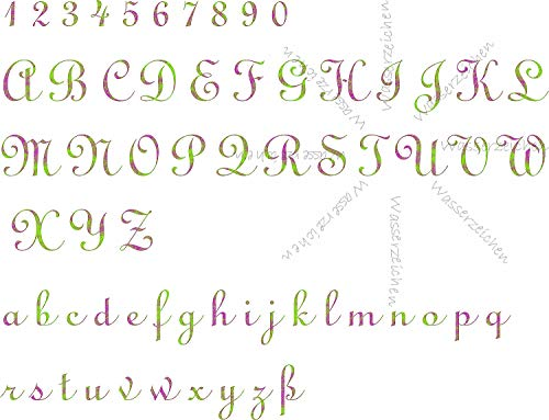 Sticker-Designs 20cm! Wunsch-Text-Aufkleber Made-IN-Germany Alphabet+Zahlen+Buchstaben:lila grün Schrift:Mongolian Baiti T60 UV&Waschanlagenfest Auto-Beschriftung eigene Vorlage