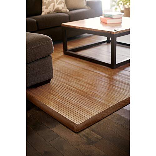 DE-COmmerce Bambusteppich Classic 140x200cm, 17mm Stege, breite Bordüre, massives Bambus | Bordürenteppich | Teppich | Bambusmatte | Wohnzimmer | Küche nachhaltig und ökologisch
