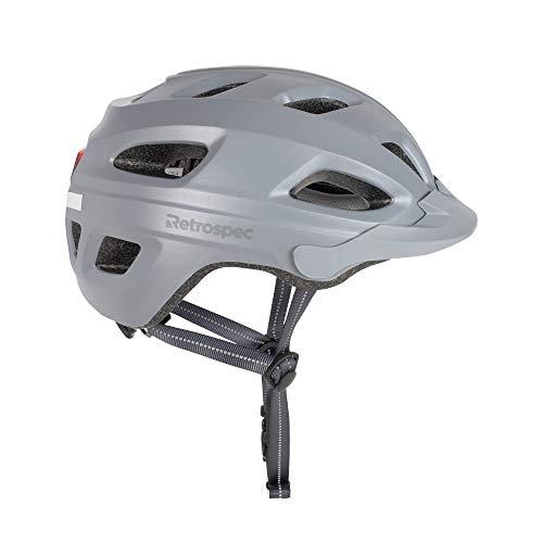 Retrospec CM-4 Bike Helmet with LED Safety Light Adjustable Dial and Removable Visor, Slate Gray, 54cm-61cm