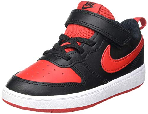 Nike Court Borough Low 2 (TDV), Scarpe da Ginnastica, Black/Univ Red-White, 27 EU