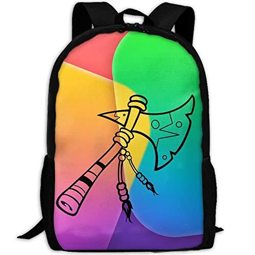 Schüler Bag,Indianer-Tomahawk-Axt-Studententasche, Polyester-Kinderbuchbags Für Gym Running,43x28x16cm