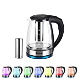 Lushandy Glass Electric Kettle, 1.8L Water Kettle with 7 Color LED Lights,Fast Boil