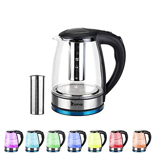 Lushandy Glass Electric Kettle, 1.8L Water Kettle with 7 Color LED Lights,Fast Boil Water Kettle, Auto Shut-Off & Boil-Dry Protection, Removable Washable Filter, 220V 2200W UK Standard(BS Plug)