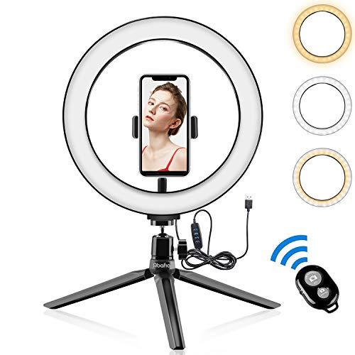 Abafia Anillo de luz LED, Selfie Ring Light con Control Remoto Bluetooth y Trípode 3 Colores Modo 11 Brillos Regulables, Aro de luz LED Rotación de 360 ° para Selfie, Maquillaje y Youtube Live