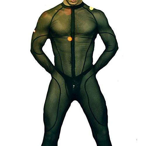 AQUALITYS Body de Rejilla para Hombre Body Transparente para Mujer Fetish de Encaje Catsuit Gay See Through Ropa de Rejilla Mesh Clubwear Black Sexy, XXL