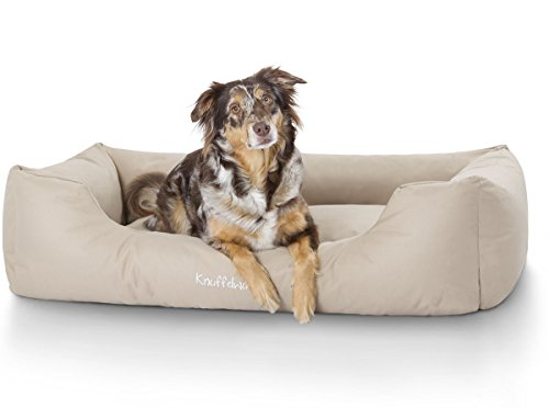 Knuffelwuff Hundebett XXL Finlay Hundekorb Hundesofa Hundekissen Hundekörbchen sehr Robust aus texturiertem Nylon waschbar Beige 120 x 85cm Grosse Hunde
