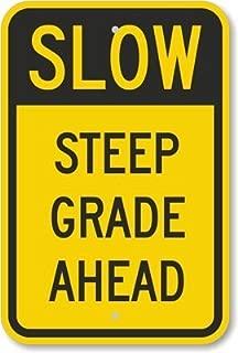 Unoopler Slow - Steep Grade Ahead, Heavy-Duty tin Sign, 63 mil, 16