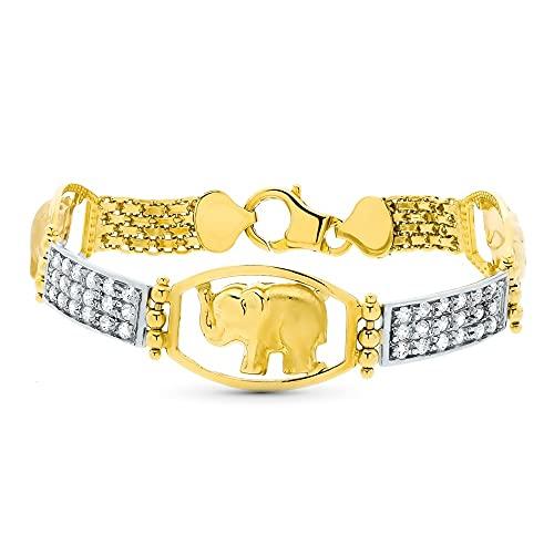 Pulsera oro bicolor 18k mujer elefante centro eslabones circonitas combinados mosquetón