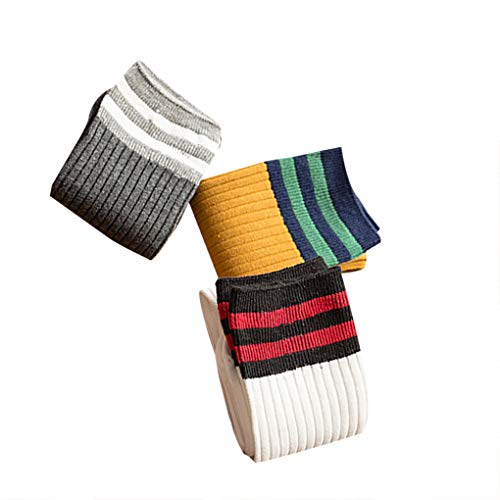 Kongnijiwa 3 Paar zufällige Farbe Baby gestreifte Kniestrümpfe, Sport Lange Socken Kinder Striped Patchwork-Fußball-Fußball-Baseball-Kniestrümpfe