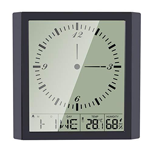 SANGSHI Higrómetro térmico, pantalla digital inteligente electrónica, medidor de temperatura y humedad para el hogar, montaje en pared, despertador, termómetro, higrómetro