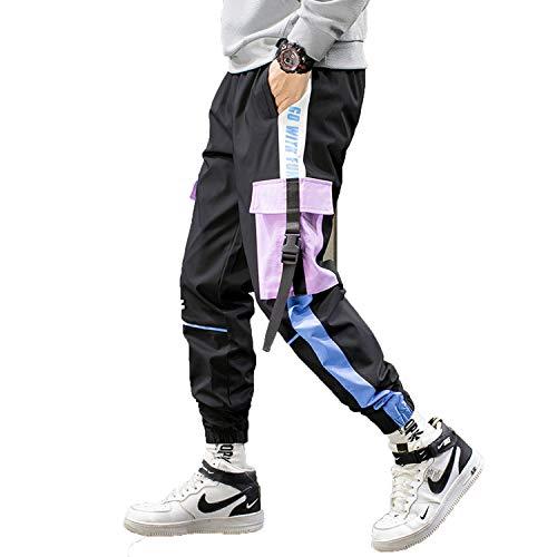 shiola Hip Hop Cargo Pants Men Joggers Pants Streetwear Men Elastic Waist Mens Casual Trousers Sweatpants-Lavender-XL