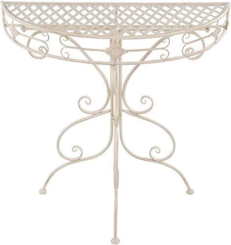 Gartentisch halbrund aus Metall in weiß Beistelltisch Kaffeetisch Garten Terrassentisch