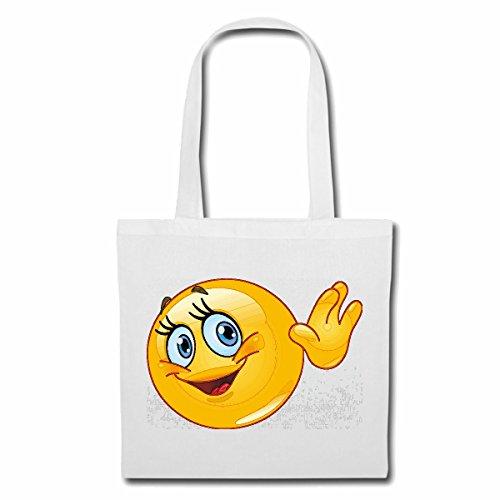Tasche Umhängetasche LUSTIGER Smiley BEIM WINKEN Smileys Smilies Android iPhone Emoticons IOS GRINSEGESICHT Emoticon APP Einkaufstasche Schulbeutel Turnbeutel in Weiß