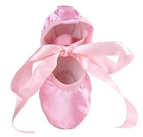 LONSOEN Ballet Slipper Shoes Stretch Satin Ballerinas Dance Yoga Flats with Pure Ribbons for Girls (Toddler/Little Kid/Big Kid SHC553 Pink CN31