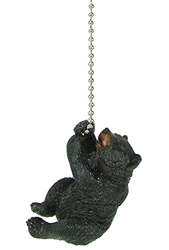Rustic Black Bear climbing Ceiling Fan Pull chain extender -...