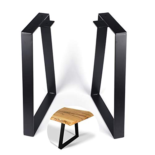 Osring 16 Inch Trapezoid Table Legs 2pcs, Solid Steel Furniture Leg for Coffee Table, TV Stand and Outside Bench, Black